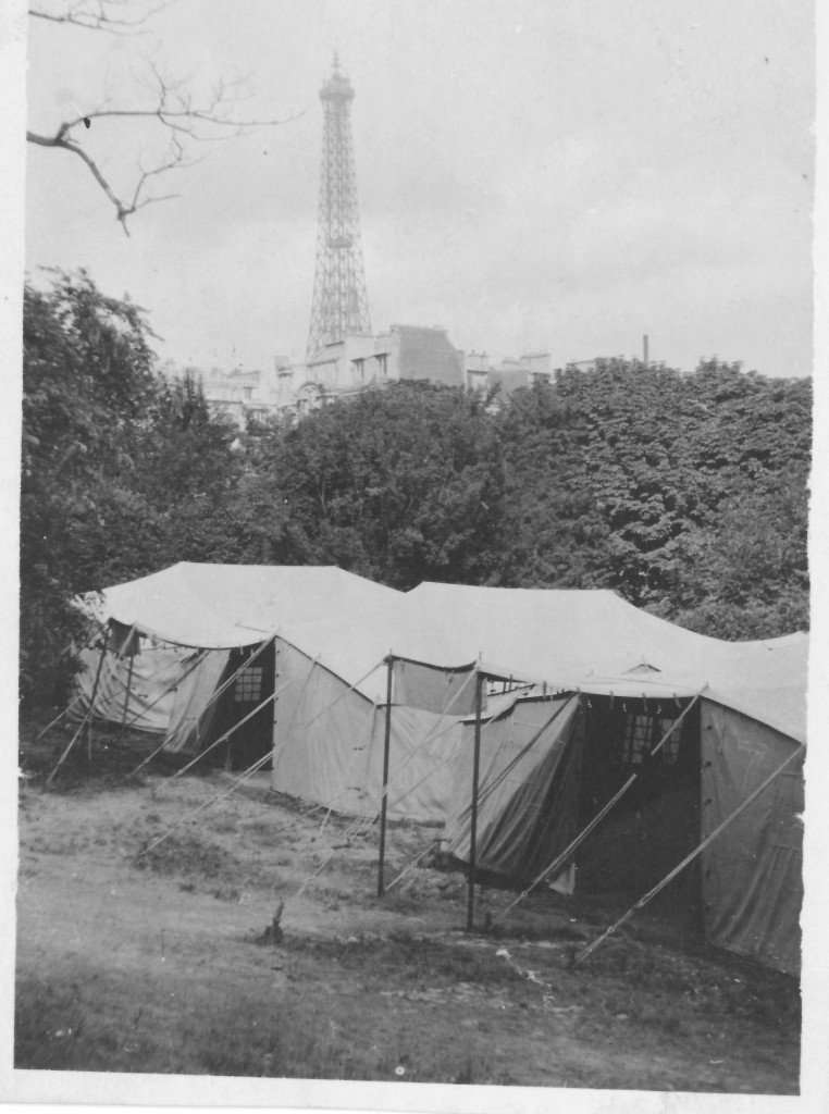 10. Barracks at American Field Service with Eiffel Tower in Background