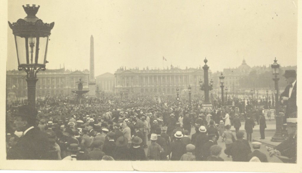 26. Watching the American Troops march by the Obelisk in the Place de la Concorde on July 4th, 1917