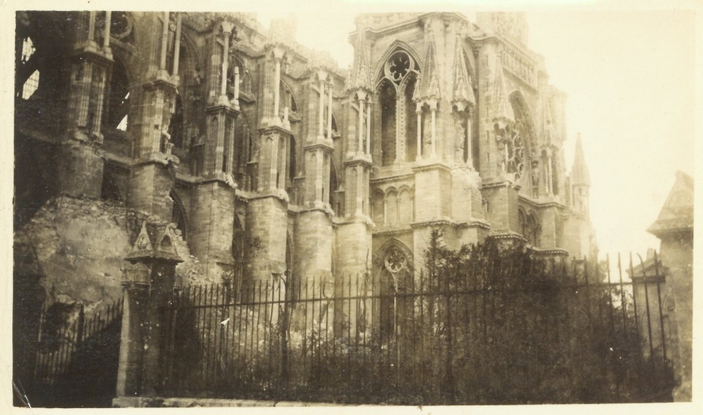 29. Side view of the Cathedral de Rheims. Under German fire from Sept 1914 to Oct 1918