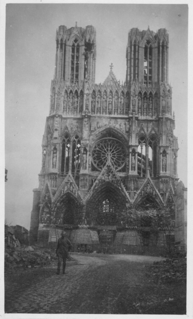 30. Cathedral of Rheims showing sandbags at foot and every window broken