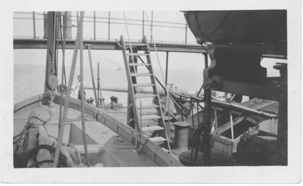 6. Poquebot Espagne. Stern gun and gunner which put Submarine to flight. My lifeboat at left hand corner.