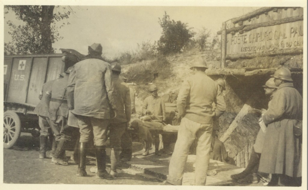 63. Loading an Ambulance at Louain Sept 27 1918 - Champagne -